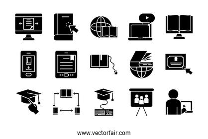 global sphere and online learning icons set, silhouette style