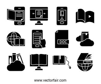 technology devices and online learning icon set, silhouette style