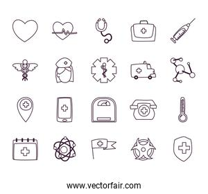 Medical line style icon set vector design