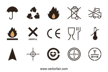 Cardboard and packaging flat style icon set vector design