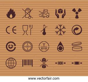 Cardboard and packaging line style icon set vector design