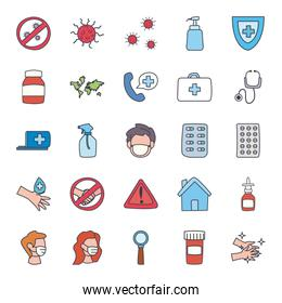 Medical care and covid 19 virus flat style icon set vector design