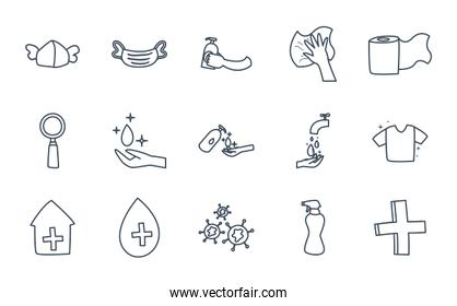 Medical care and covid 19 virus line style icon set vector design