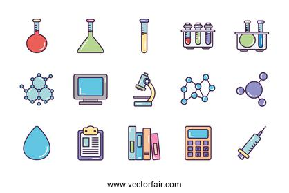 syringe and Chemical icon set, line color style