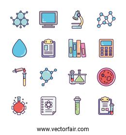 microscope and Chemical icon set, line color style