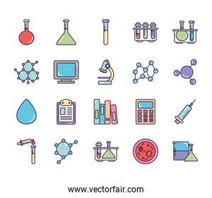 calculator and Chemical icon set, line color style