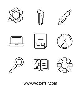 atom and Chemical icon set, line style