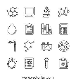 microscope and Chemical icon set, line style