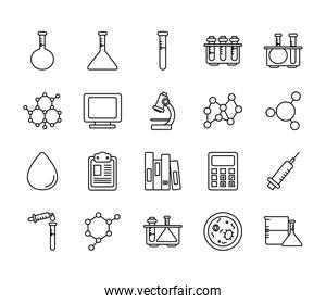 calculator and Chemical icon set, line style