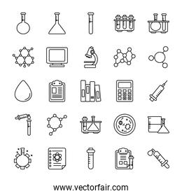 water drop and Chemical icon set, line style