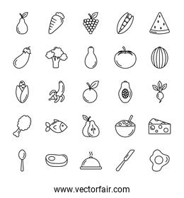 eggs and healthy food icon set, line style