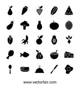 eggs and healthy food icon set, silhouette style