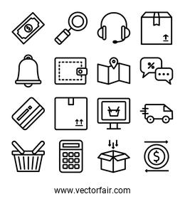 headphones and shopping online icon set, line style