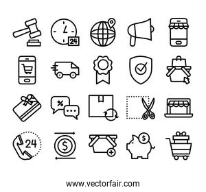 piggy bank and shopping online icons pack, line style