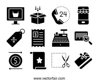 box and shopping online icon set, silhouette style