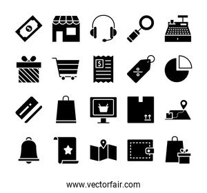 store and shopping online icon set, silhouette style