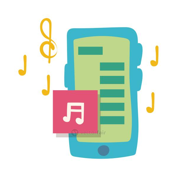 smartphone online things with music flat style