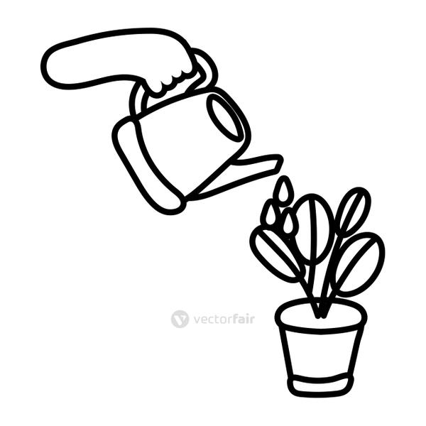 sprinkler with houseplant line style icon