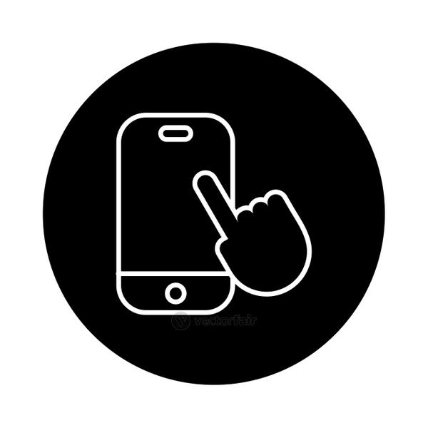 smartphone with hand touching line style