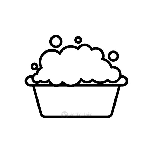 bucket with soapy water icon, line style