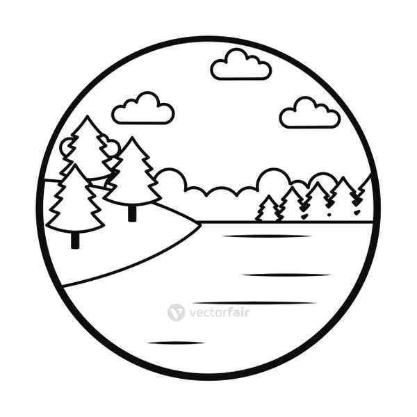 Lake landscape and trees, line style