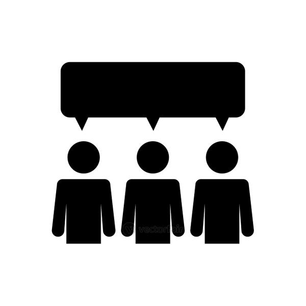 pictogram people with speech bubble, silhouette style
