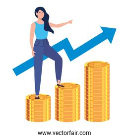 woman is climbing stairs from stacks of coins toward his financial goal, pile coins , young woman