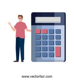 man with calculator, finance sign isolated on white, economy concept