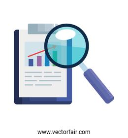 business profit statistics in clipboard with magnifying glass on white background