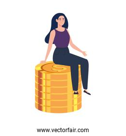 pile coins with woman sitting isolated on white background