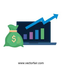 money bag, money bag cartoon and dollar sign and laptop with infographic
