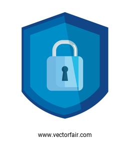 padlock symbol inside shield , safety and security protection on white background