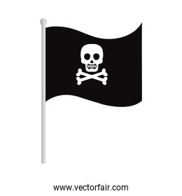 pirate flag with a skull and bones on white background