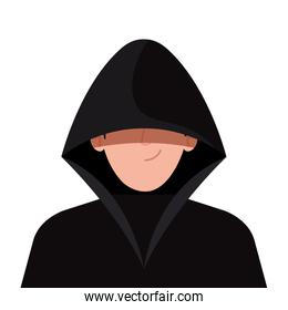 hacker with black clothes on white background