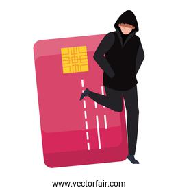 hacker with credit card on white background