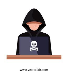 hacker with laptop computer on white background