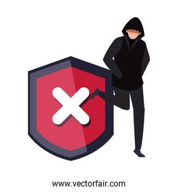 hacker with shield on white background
