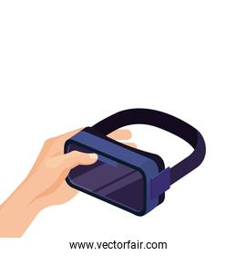 hand with virtual reality glasses, isolated on white background
