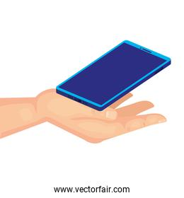 hand with mobile phone, smartphone device on white background