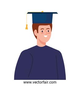 man excited with graduation hat, cheerful male graduate on white background