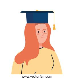 woman excited with graduation hat, cheerful female graduate on white background