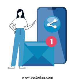 woman and smartphone with social media icons, concept of online communication on white background