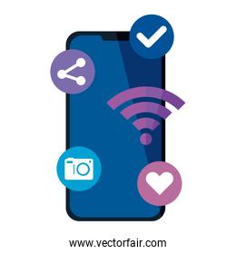 smartphone with social media icons, concept of online communication on white background