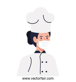 chef female using face mask during covid 19 on white background