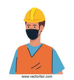worker construction using face mask during covid 19 on white background