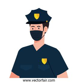 policeman using face mask during covid 19 on white background