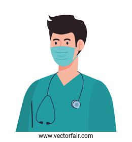 paramedic using face mask during covid 19 on white background