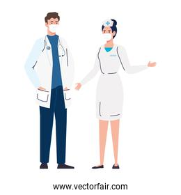 nurse with doctor using face mask during covid 19 on white background