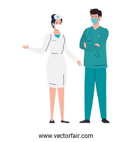 nurse with paramedic using face mask during covid 19 on white background