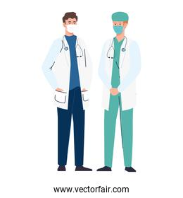 doctors using face mask during covid 19 on white background